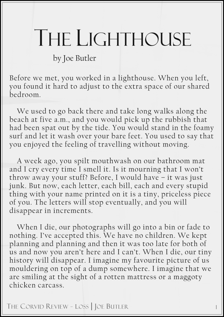 The Corvid Review - The Lighthouse - Short Story by Joe Butler page1