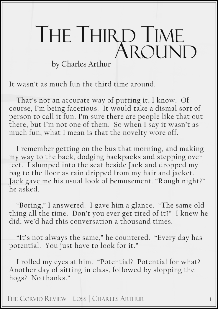 The Corvid Review - The Third Time Around - Short Story by Charles Arthur page1