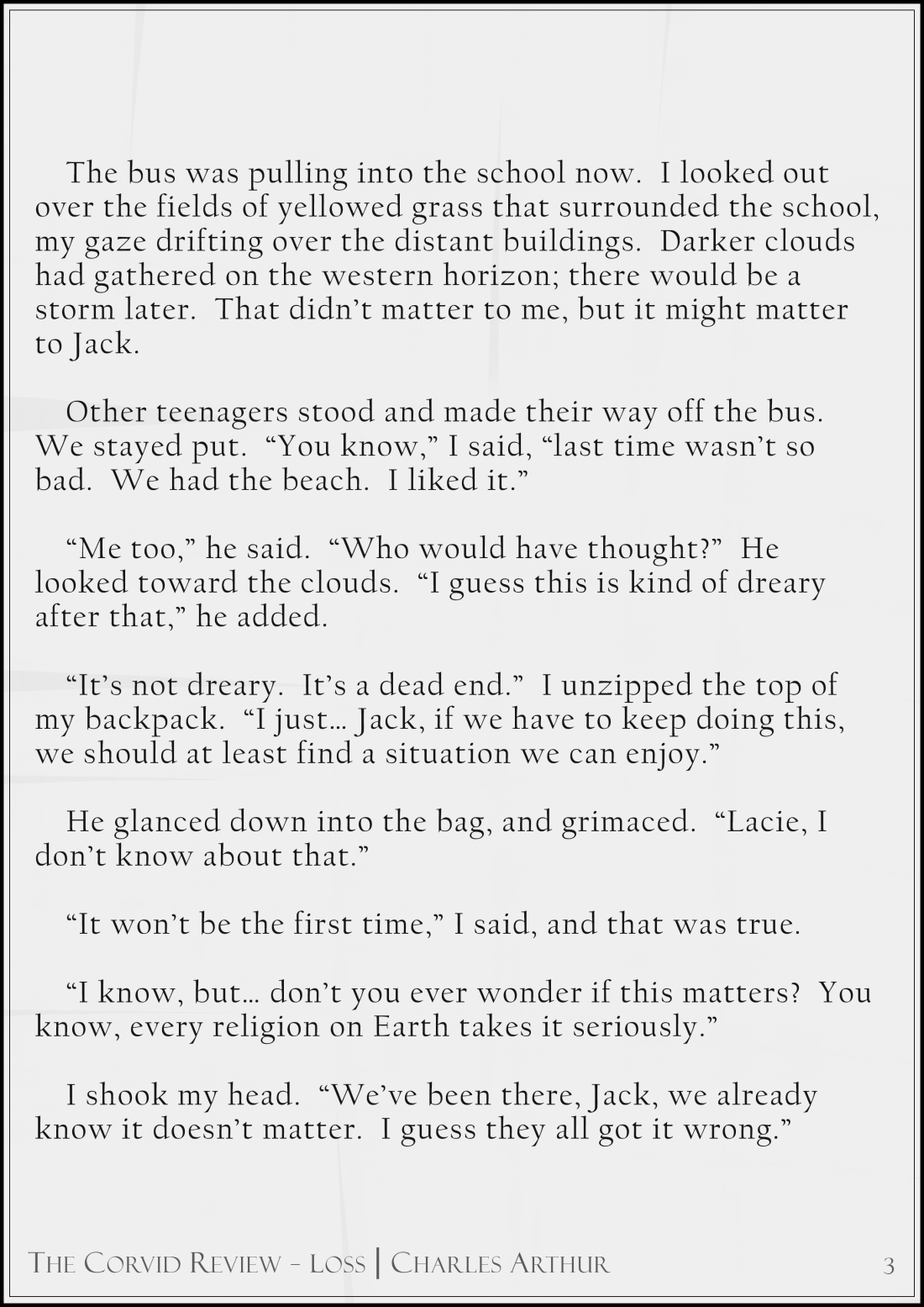 The Corvid Review - The Third Time Around - Short Story by Charles Arthur page3