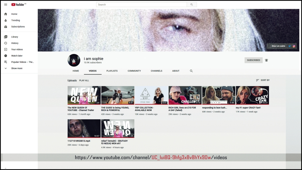 i am sophie YouTube channel